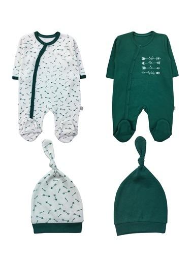 By Leyal For Kids Ok Detaylı 2Li Tulum Şapka Set (2Tulum+2 Şapka)-4416 Yeşil